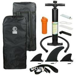 10.5' FT Long Inflatable Stand Up Paddle Board Complete Kit 6'' Thick Black SUP