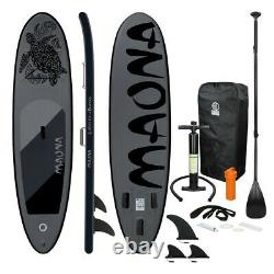 10' FT Long Inflatable Stand Up Paddle Board Complete Kit 4'' Thick Black SUP