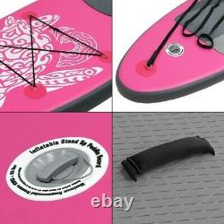 10' FT Long Inflatable Stand Up Paddle Board Complete Kit 4'' Thick Pink SUP