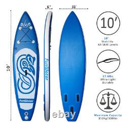 10' Inflatable Stand Up Paddle Board Adjustable Fin Paddle with complete kit