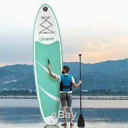 10' Inflatable Stand Up Paddle Board SUP Fin Adjustable Paddle Backpack Green UT