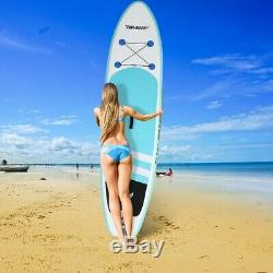 10' Inflatable Stand Up Paddle Board Surfboard Adjustable Fin Paddle In Beach A+