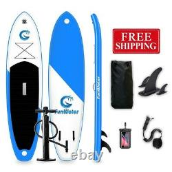 11' Blue & Black Inflatable Stand Up Paddle Board SUP Surfboard Kit 6'' Thick