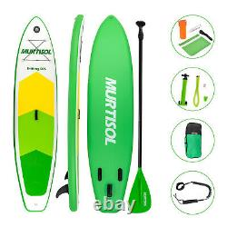 11' Inflatable Stand Up Paddle Board 6 Thick Non-Slip Adjustable Paddle Green