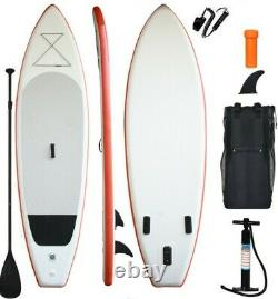 11' Inflatable Stand Up Paddle Board SUP Complete Kit Package White Orange