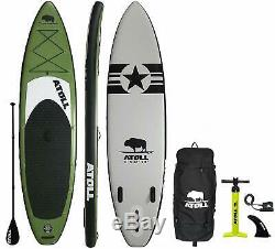 Atoll 110 Foot Inflatable Stand Up Paddle Board, Bravo Hand Pump Leash- Green