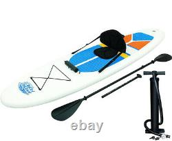 Bestway Hydro-Force 10 Foot Inflatable Stand Up Paddle Board SUP and Kayak, Whit