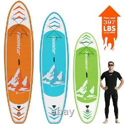 Famistar Inflatable Stand Up Paddle Board SUP with 3 Fins, Adjustable Paddle, Pump