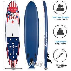 Goplus 11' Inflatable Stand Up Paddle Board Surfboard WithPump Aluminum Paddle