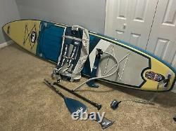 ISLE Surf & SUP 12 Explorer Inflatable Stand Up Paddle Board Package Sand
