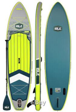 ISLE Surf & SUP 12' Explorer Inflatable Stand Up Paddle Board Yellow / Grey