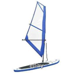 Inflatable Stand Up Paddleboard with Sail Set Blue and White