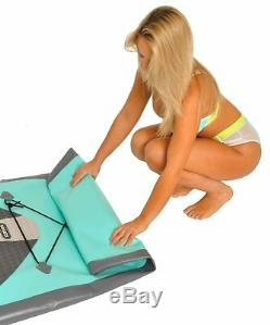 NEW 10' Large Inflatable SUP Paddle Board Stand Up Board 6 Thick Aqua Grey PVC
