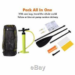 New Yellow 10ft Inflatable Stand Up Paddle Board iSUP Adjustable Paddle Backpack