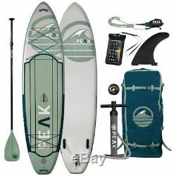PEAK 11 Foot Expedition Inflatable Stand Up Paddle Board-Green & White