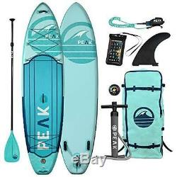 Peak Expedition Inflatable Stand Up Paddle Board 11 Long 32 Wide 6 Thick-Aqua