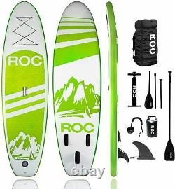 ROC Inflatable Stand Up Paddle Board with Free Premium SUP Accessories GREEN