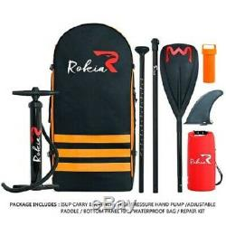 Rokia R Inflatable Stand Up Paddleboard 11' (6 Thick) Premium SUP Orange, New