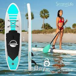 SereneLife Inflatable Stand Up Paddle Board (6 Inches Thick) AQUA