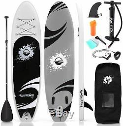 SereneLife Inflatable Stand Up Paddle Board (6 Inches Thick) BLACK & GRAY