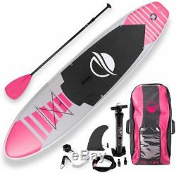 SereneLife Inflatable Stand Up Paddle Board (6 Inches Thick) PINK