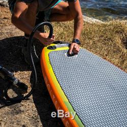 VoltSurf 11 Foot Rover Inflatable SUP Stand Up Paddle Board Kit with Pump, Orange